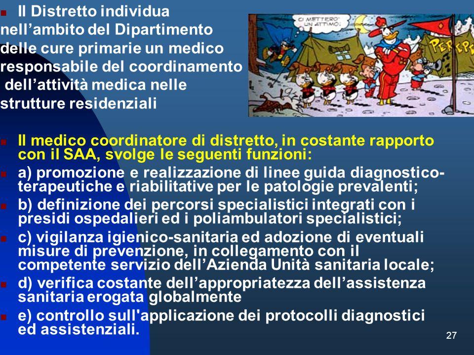 27 Il Distretto individua nellambito del Dipartimento delle cure primarie un medico responsabile del coordinamento dellattività medica nelle strutture