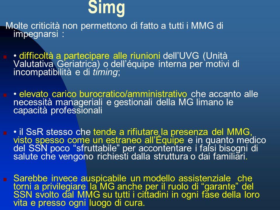 Simg Molte criticità non permettono di fatto a tutti i MMG di impegnarsi : difficoltà a partecipare alle riunioni dellUVG (Unità Valutativa Geriatrica