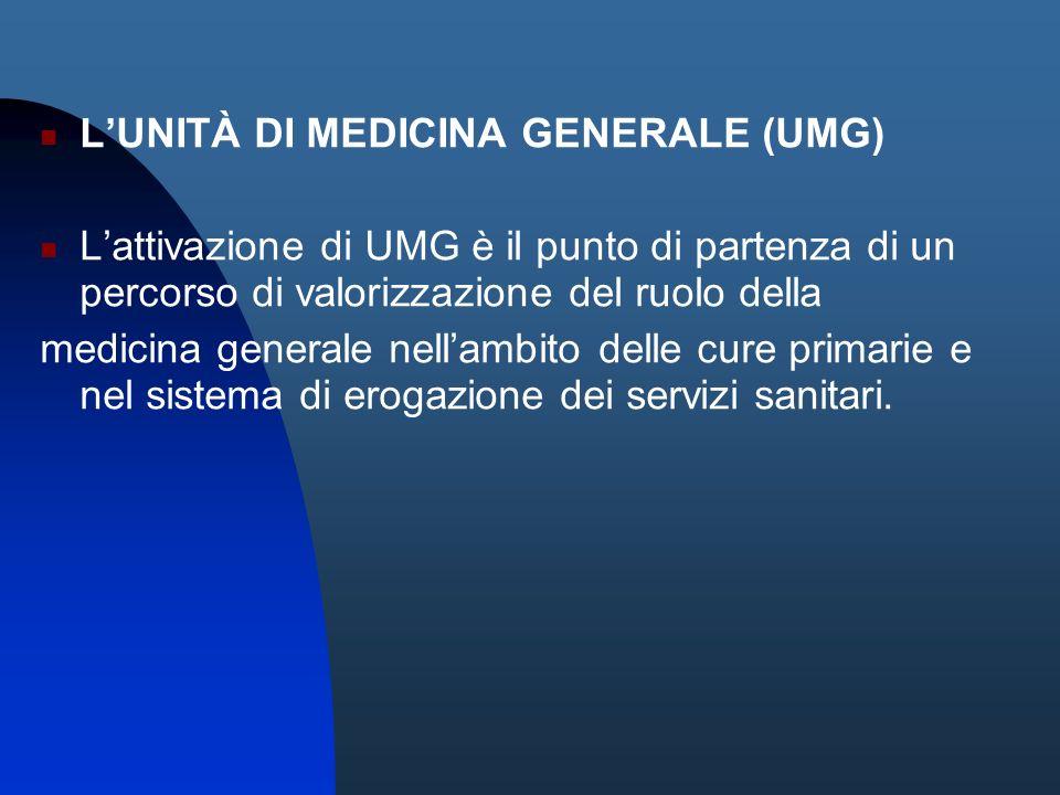 LUNITÀ DI MEDICINA GENERALE (UMG) Lattivazione di UMG è il punto di partenza di un percorso di valorizzazione del ruolo della medicina generale nellam