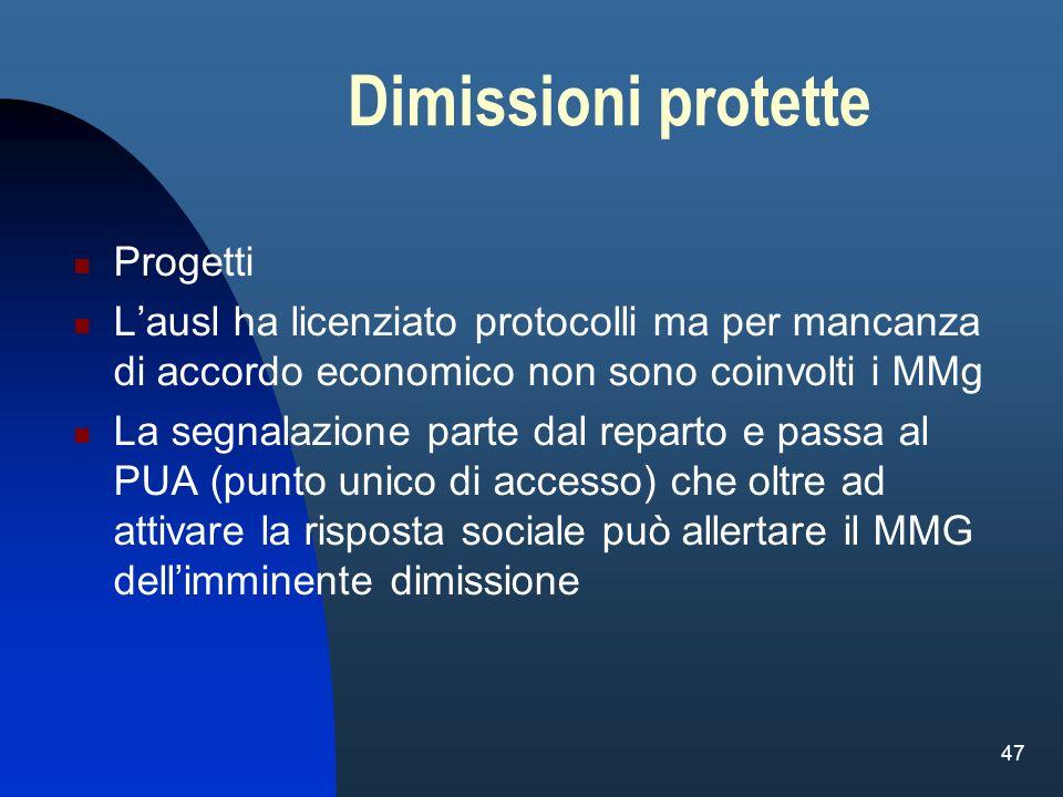 47 Dimissioni protette Progetti Lausl ha licenziato protocolli ma per mancanza di accordo economico non sono coinvolti i MMg La segnalazione parte dal