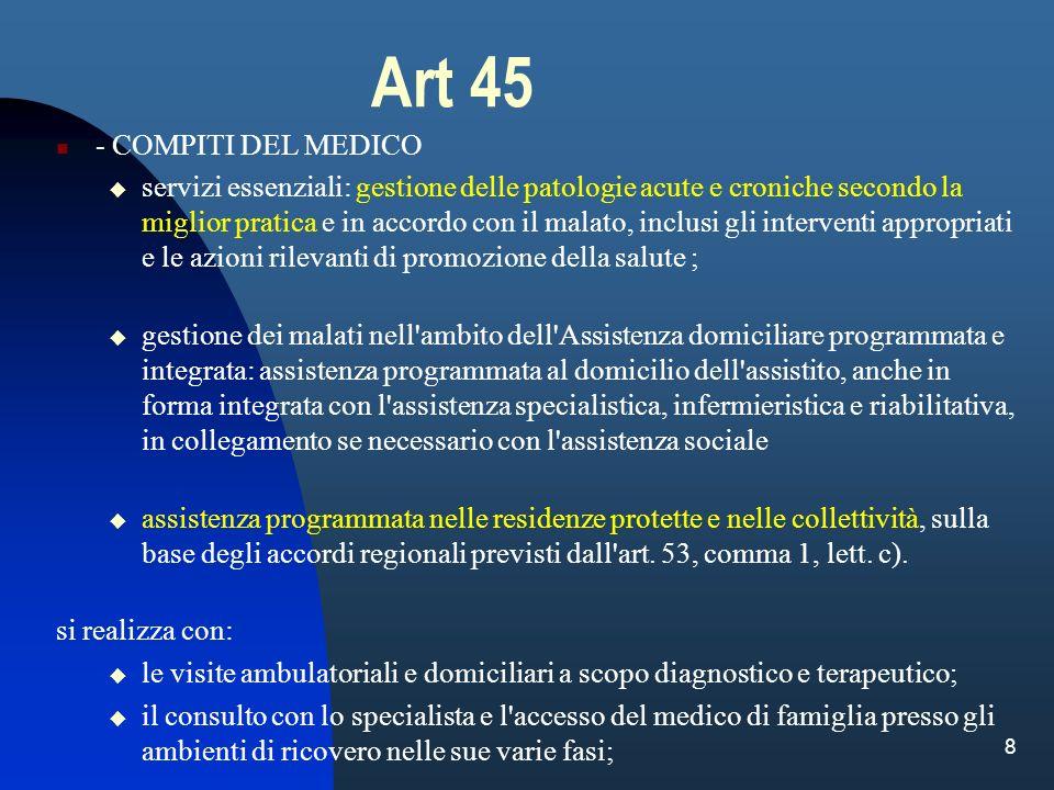 8 Art 45 - COMPITI DEL MEDICO servizi essenziali: gestione delle patologie acute e croniche secondo la miglior pratica e in accordo con il malato, inc