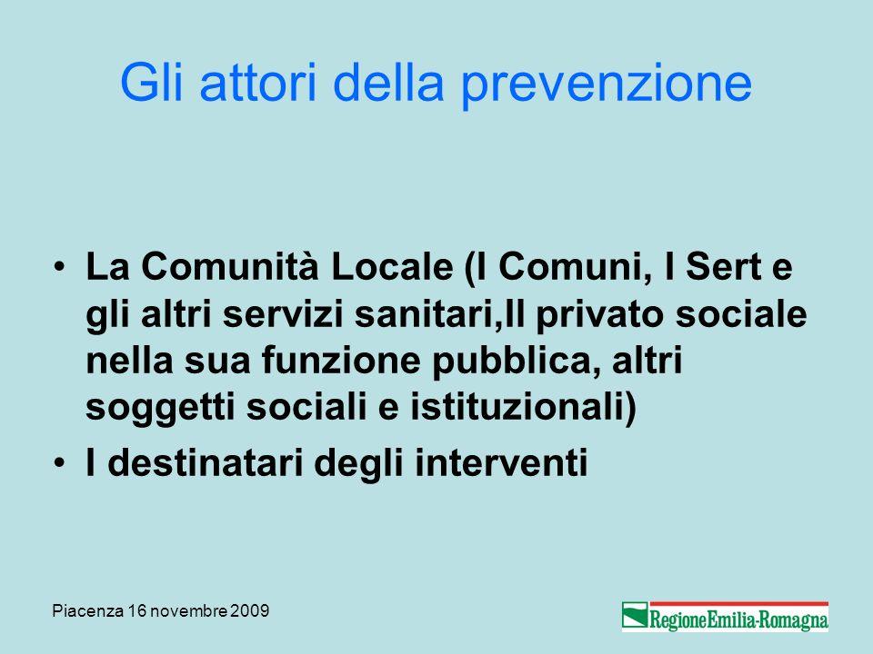 Piacenza 16 novembre 2009 Gli attori della prevenzione La Comunità Locale (I Comuni, I Sert e gli altri servizi sanitari,Il privato sociale nella sua