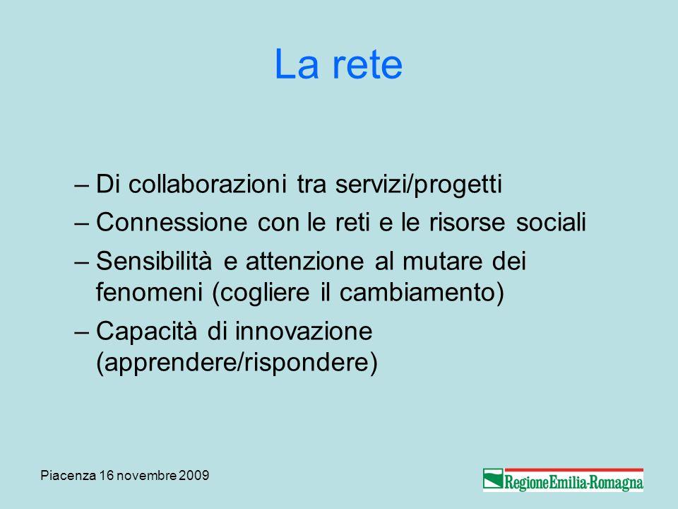 Piacenza 16 novembre 2009 La rete –Di collaborazioni tra servizi/progetti –Connessione con le reti e le risorse sociali –Sensibilità e attenzione al mutare dei fenomeni (cogliere il cambiamento) –Capacità di innovazione (apprendere/rispondere)