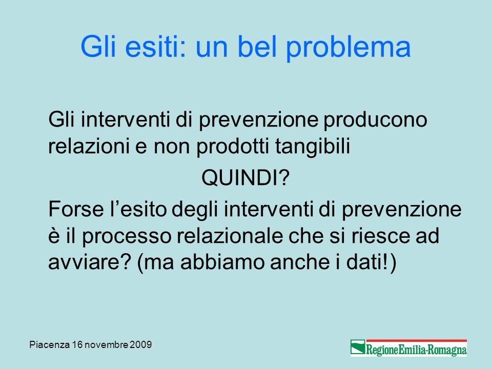 Piacenza 16 novembre 2009 Gli esiti: un bel problema Gli interventi di prevenzione producono relazioni e non prodotti tangibili QUINDI? Forse lesito d