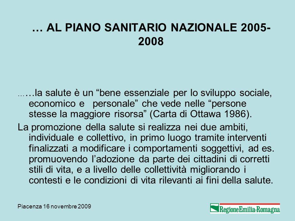 Piacenza 16 novembre 2009 … AL PIANO SANITARIO NAZIONALE 2005- 2008 … …la salute è un bene essenziale per lo sviluppo sociale, economico e personale c