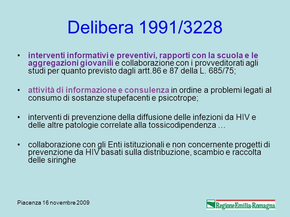 Piacenza 16 novembre 2009 Delibera 1991/3228 interventi informativi e preventivi, rapporti con la scuola e le aggregazioni giovanili e collaborazione con i provveditorati agli studi per quanto previsto dagli artt.86 e 87 della L.