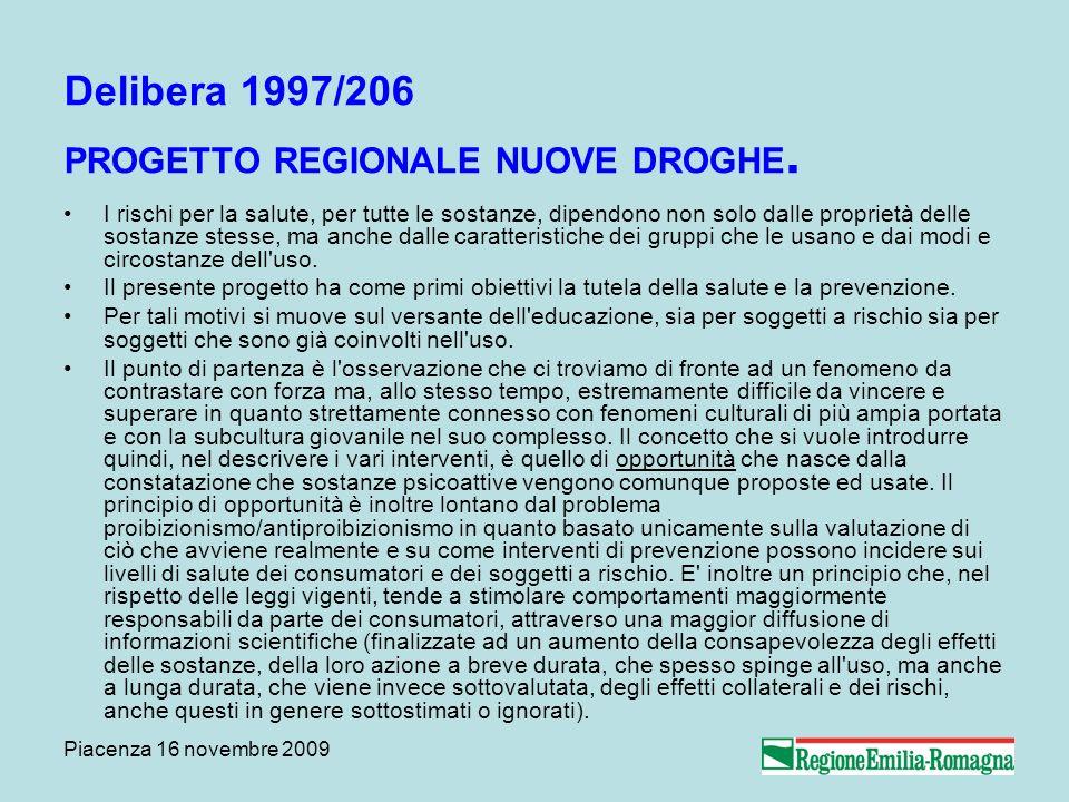 Piacenza 16 novembre 2009 Delibera 1997/206 PROGETTO REGIONALE NUOVE DROGHE. I rischi per la salute, per tutte le sostanze, dipendono non solo dalle p