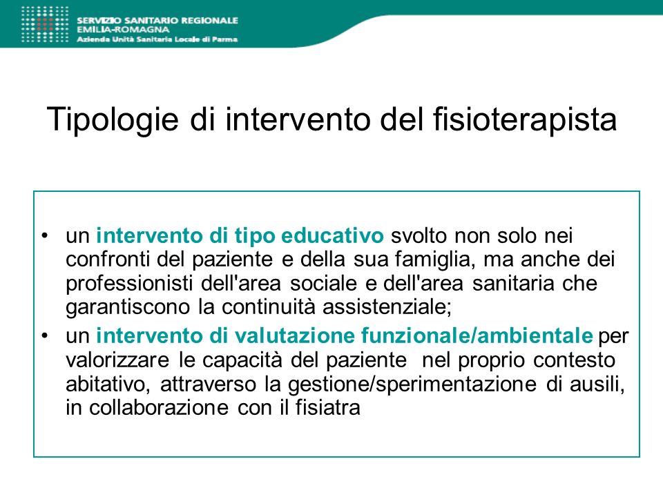 Tipologie di intervento del fisioterapista un intervento di tipo educativo svolto non solo nei confronti del paziente e della sua famiglia, ma anche d