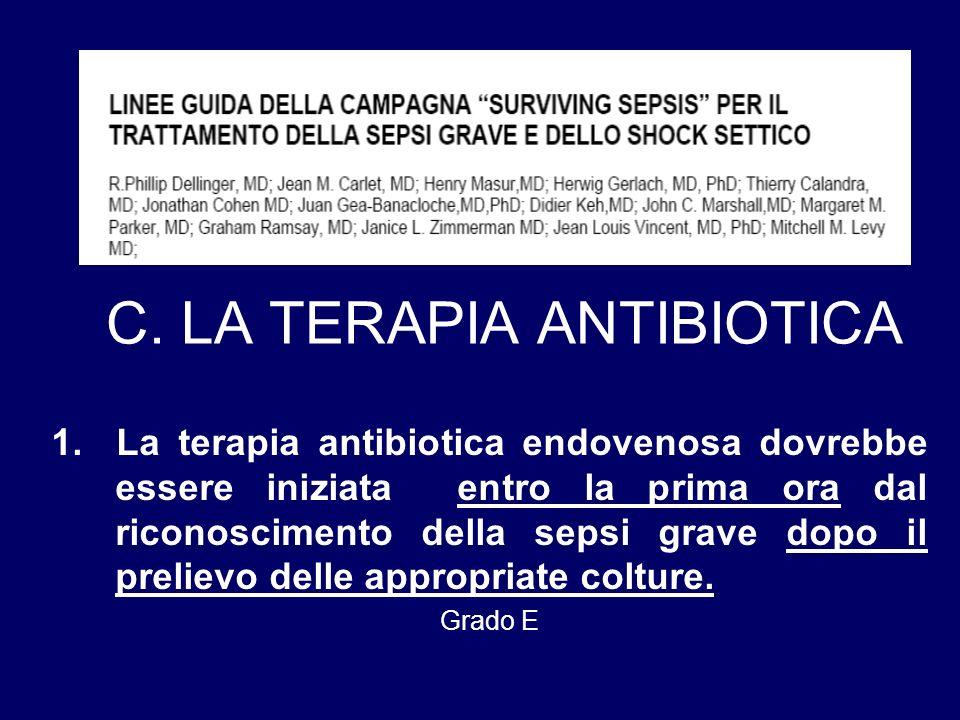 C. LA TERAPIA ANTIBIOTICA 1. La terapia antibiotica endovenosa dovrebbe essere iniziata entro la prima ora dal riconoscimento della sepsi grave dopo i