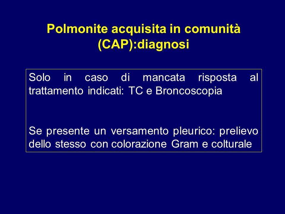 Polmonite acquisita in comunità (CAP):diagnosi Solo in caso di mancata risposta al trattamento indicati: TC e Broncoscopia Se presente un versamento p