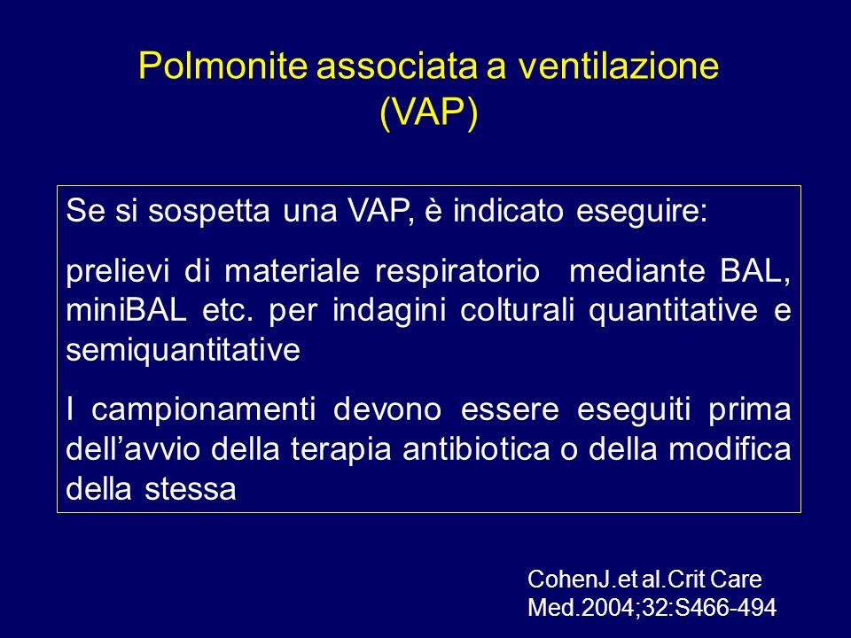 Polmonite associata a ventilazione (VAP) Se si sospetta una VAP, è indicato eseguire: prelievi di materiale respiratorio mediante BAL, miniBAL etc. pe
