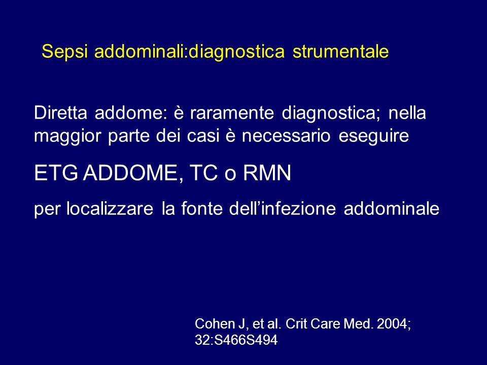 Sepsi addominali:diagnostica strumentale Diretta addome: è raramente diagnostica; nella maggior parte dei casi è necessario eseguire ETG ADDOME, TC o