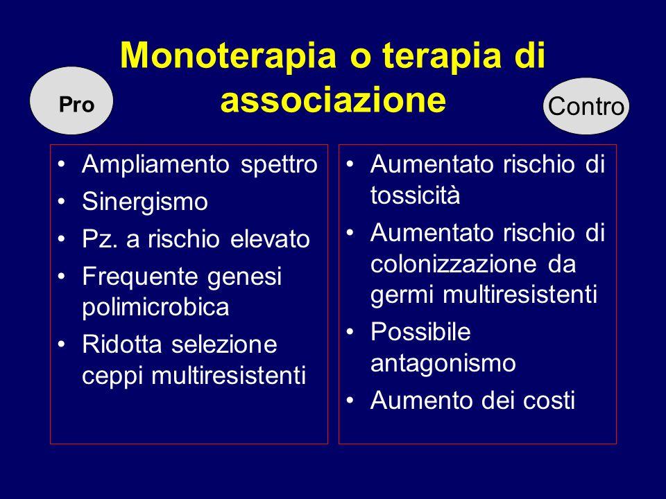 Monoterapia o terapia di associazione Ampliamento spettro Sinergismo Pz. a rischio elevato Frequente genesi polimicrobica Ridotta selezione ceppi mult