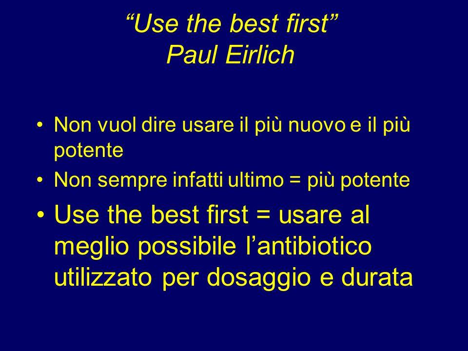 Use the best first Paul Eirlich Non vuol dire usare il più nuovo e il più potente Non sempre infatti ultimo = più potente Use the best first = usare a