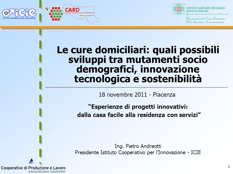1 Le cure domiciliari: quali possibili sviluppi tra mutamenti socio demografici, innovazione tecnologica e sostenibilità 18 novembre 2011 - Piacenza I
