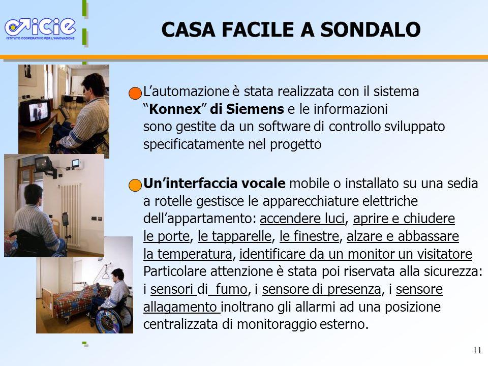 11 CASA FACILE A SONDALO Lautomazione è stata realizzata con il sistemaKonnex di Siemens e le informazioni sono gestite da un software di controllo sv