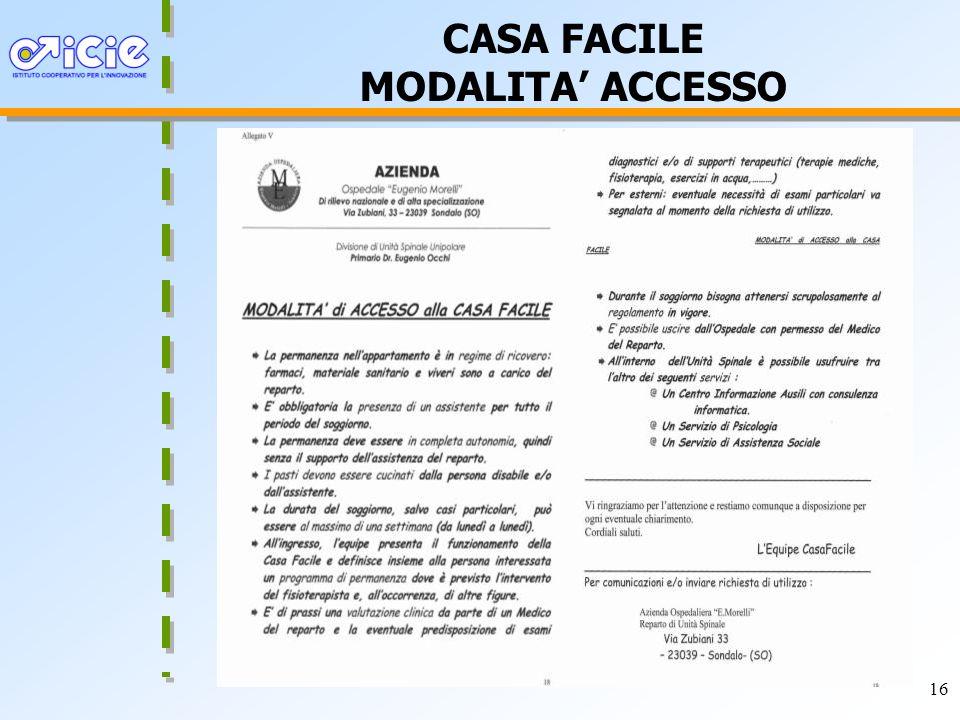 16 CASA FACILE MODALITA ACCESSO