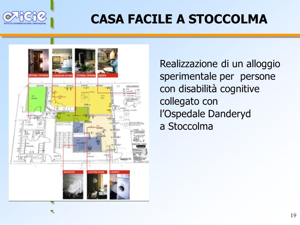 19 CASA FACILE A STOCCOLMA Realizzazione di un alloggio sperimentale per persone con disabilità cognitive collegato con lOspedale Danderyd a Stoccolma