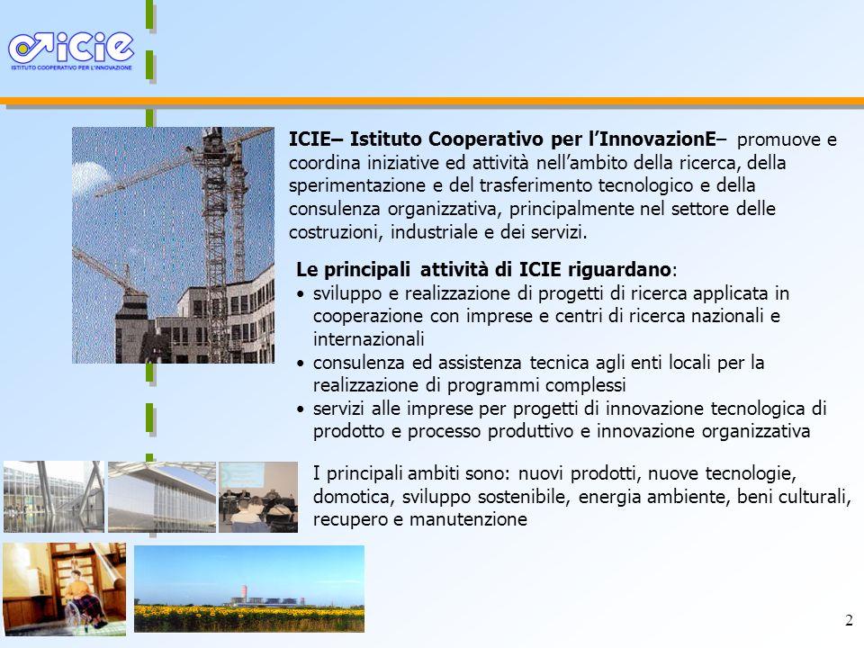 2 ICIE– Istituto Cooperativo per lInnovazionE– promuove e coordina iniziative ed attività nellambito della ricerca, della sperimentazione e del trasferimento tecnologico e della consulenza organizzativa, principalmente nel settore delle costruzioni, industriale e dei servizi.