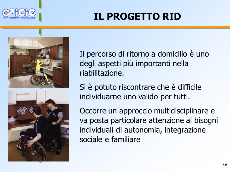 36 IL PROGETTO RID Il percorso di ritorno a domicilio è uno degli aspetti più importanti nella riabilitazione.