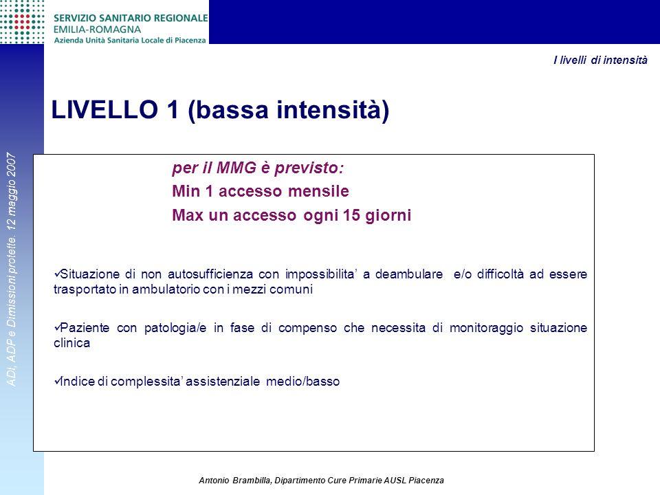 ADI, ADP e Dimissioni protette. 12 maggio 2007 Antonio Brambilla, Dipartimento Cure Primarie AUSL Piacenza per il MMG è previsto: Min 1 accesso mensil