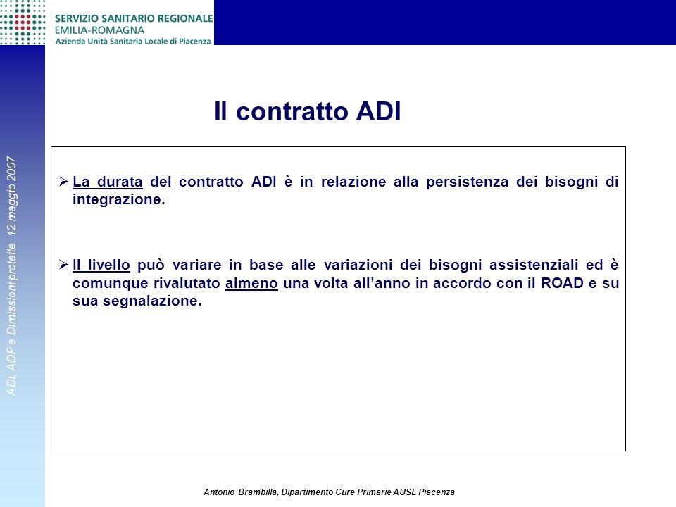 ADI, ADP e Dimissioni protette. 12 maggio 2007 Antonio Brambilla, Dipartimento Cure Primarie AUSL Piacenza La durata del contratto ADI è in relazione