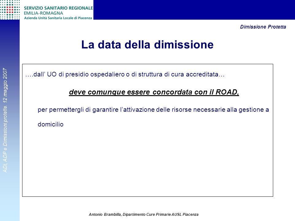ADI, ADP e Dimissioni protette. 12 maggio 2007 Antonio Brambilla, Dipartimento Cure Primarie AUSL Piacenza La data della dimissione ….dall UO di presi
