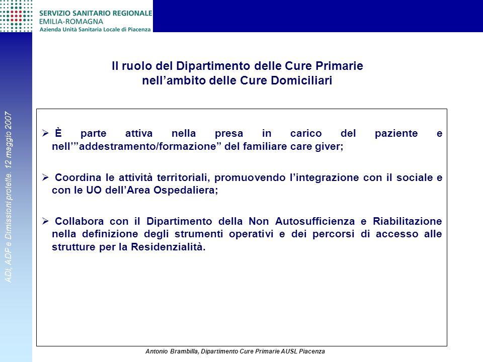 ADI, ADP e Dimissioni protette. 12 maggio 2007 Antonio Brambilla, Dipartimento Cure Primarie AUSL Piacenza Il ruolo del Dipartimento delle Cure Primar