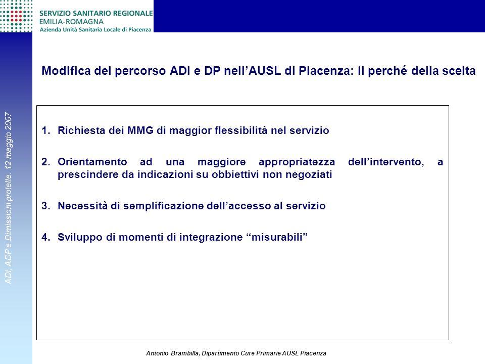 ADI, ADP e Dimissioni protette. 12 maggio 2007 Antonio Brambilla, Dipartimento Cure Primarie AUSL Piacenza 1.Richiesta dei MMG di maggior flessibilità