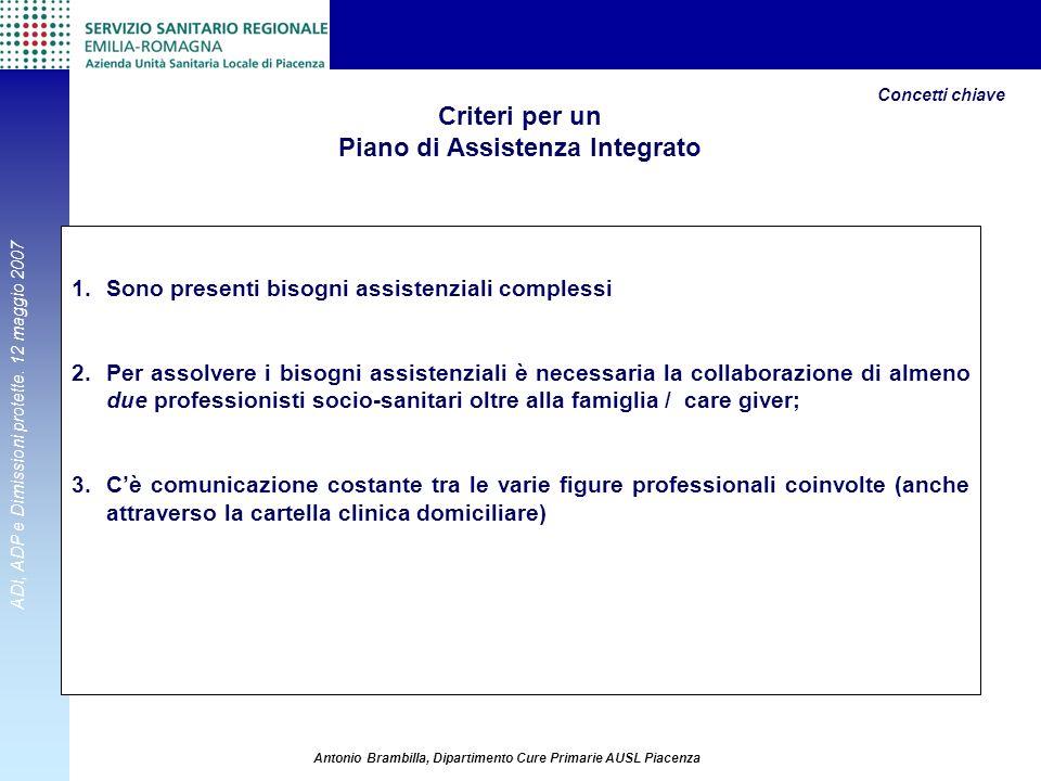 ADI, ADP e Dimissioni protette. 12 maggio 2007 Antonio Brambilla, Dipartimento Cure Primarie AUSL Piacenza Criteri per un Piano di Assistenza Integrat