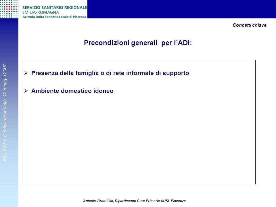 ADI, ADP e Dimissioni protette. 12 maggio 2007 Antonio Brambilla, Dipartimento Cure Primarie AUSL Piacenza Precondizioni generali per lADI: Presenza d