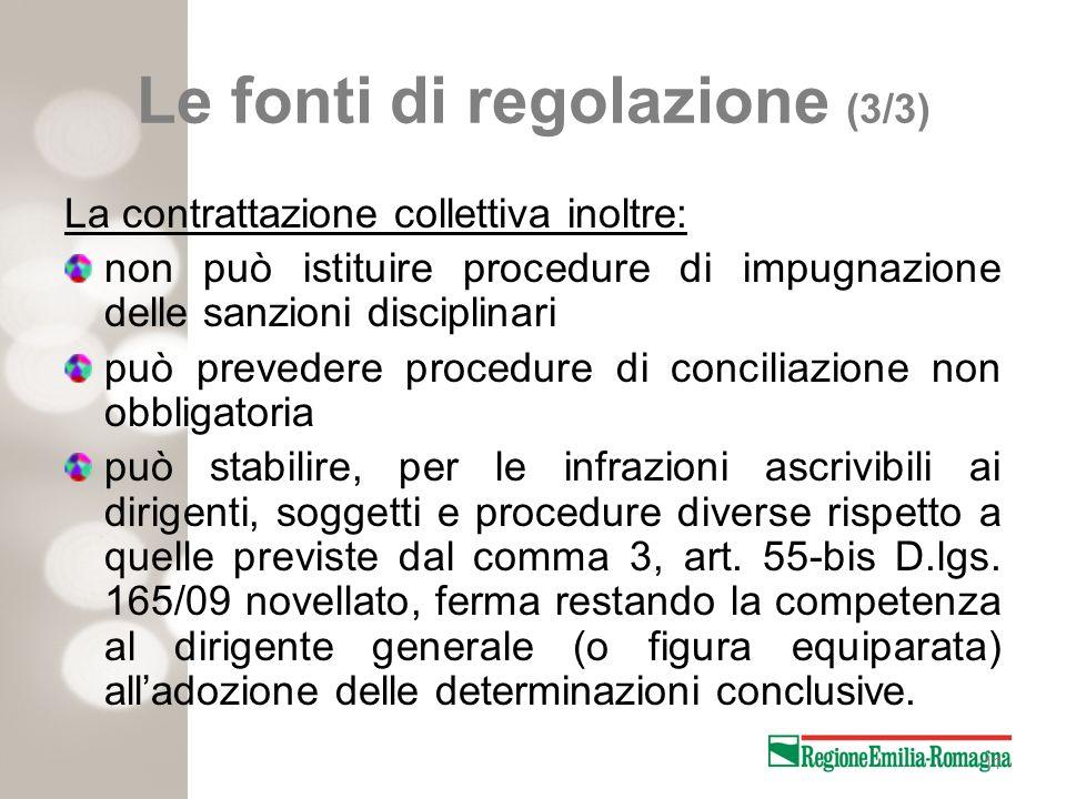 11 Le fonti di regolazione (3/3) La contrattazione collettiva inoltre: non può istituire procedure di impugnazione delle sanzioni disciplinari può pre