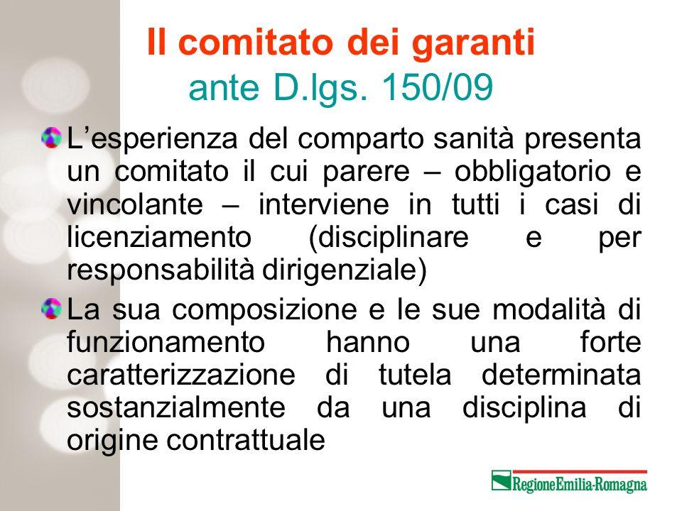 Il comitato dei garanti ante D.lgs. 150/09 Lesperienza del comparto sanità presenta un comitato il cui parere – obbligatorio e vincolante – interviene