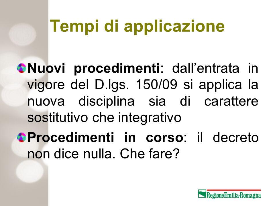 Tempi di applicazione Nuovi procedimenti: dallentrata in vigore del D.lgs. 150/09 si applica la nuova disciplina sia di carattere sostitutivo che inte