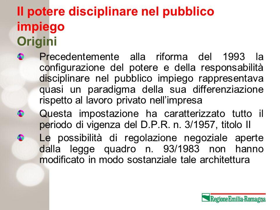 2 Il potere disciplinare nel pubblico impiego Origini Precedentemente alla riforma del 1993 la configurazione del potere e della responsabilità discip
