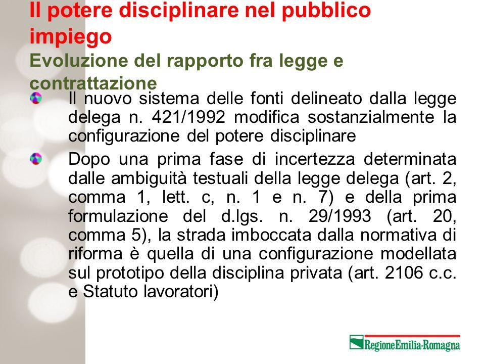 3 Il potere disciplinare nel pubblico impiego Evoluzione del rapporto fra legge e contrattazione Il nuovo sistema delle fonti delineato dalla legge de