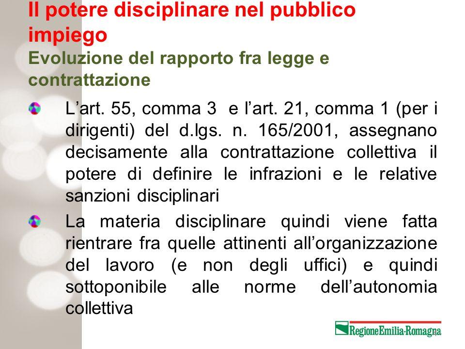 4 Il potere disciplinare nel pubblico impiego Evoluzione del rapporto fra legge e contrattazione Lart. 55, comma 3 e lart. 21, comma 1 (per i dirigent