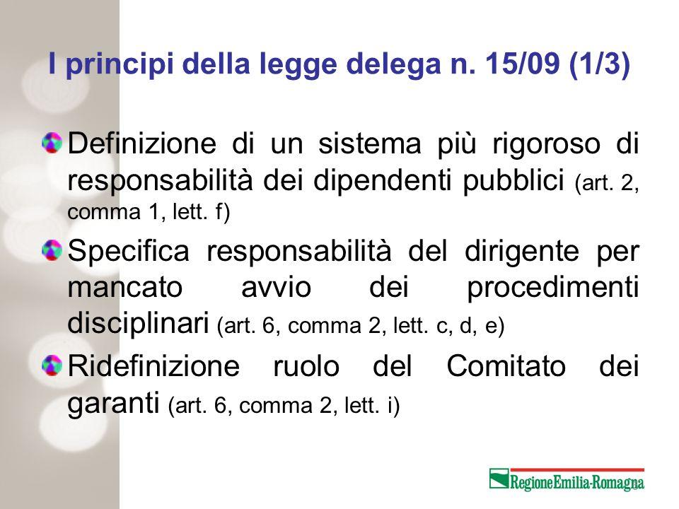 5 I principi della legge delega n. 15/09 (1/3) Definizione di un sistema più rigoroso di responsabilità dei dipendenti pubblici (art. 2, comma 1, lett