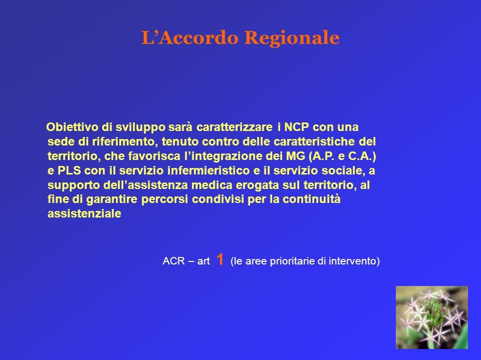 LAccordo Regionale Obiettivo di sviluppo sarà caratterizzare i NCP con una sede di riferimento, tenuto contro delle caratteristiche del territorio, che favorisca lintegrazione dei MG (A.P.