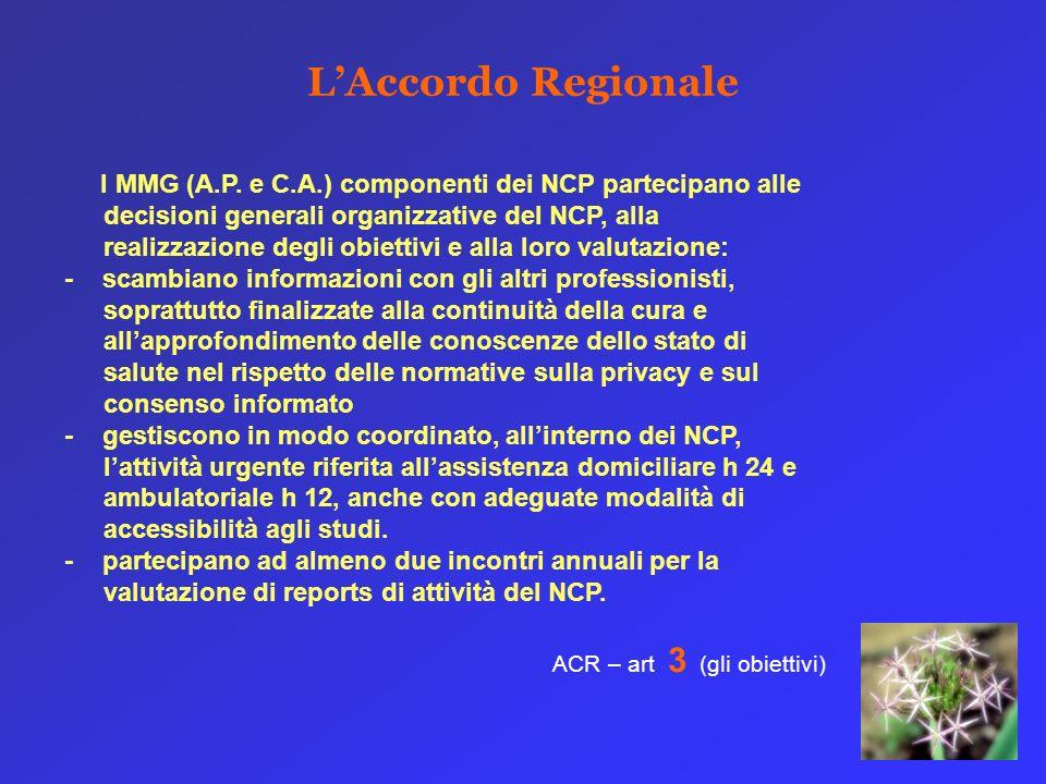 LAccordo Regionale I MMG (A.P. e C.A.) componenti dei NCP partecipano alle decisioni generali organizzative del NCP, alla realizzazione degli obiettiv