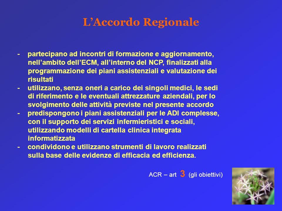 LAccordo Regionale - partecipano ad incontri di formazione e aggiornamento, nellambito dellECM, allinterno del NCP, finalizzati alla programmazione de
