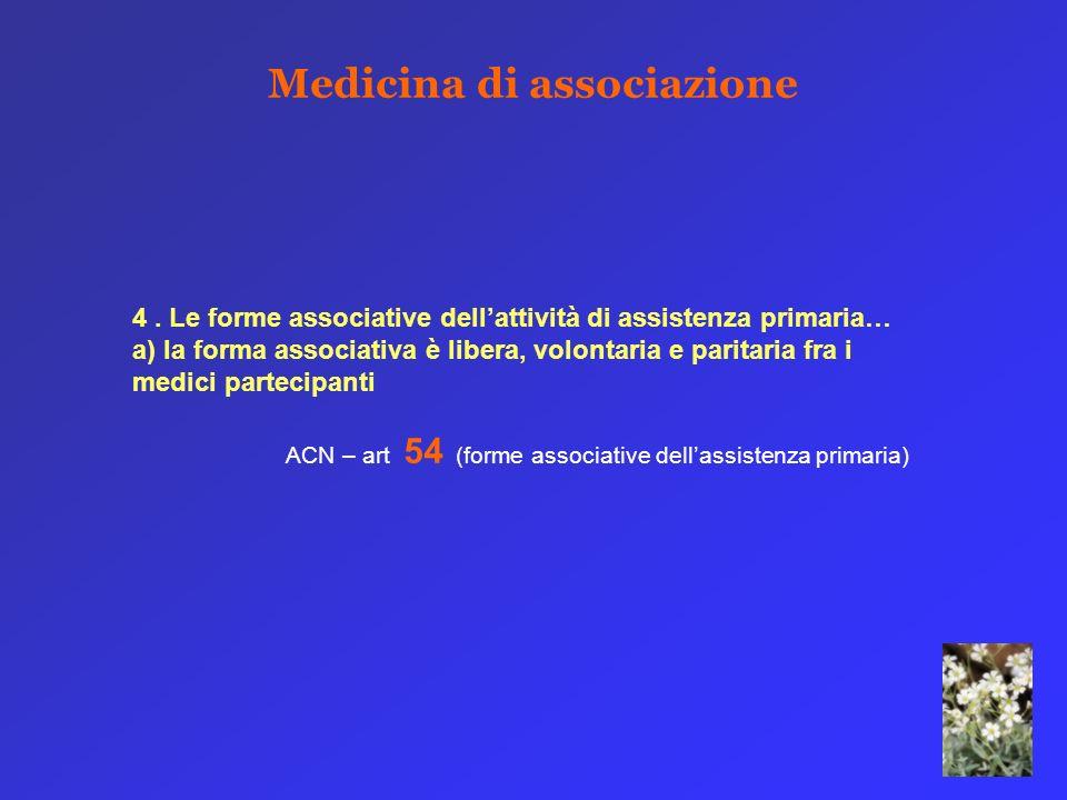 4. Le forme associative dellattività di assistenza primaria… a) la forma associativa è libera, volontaria e paritaria fra i medici partecipanti ACN –