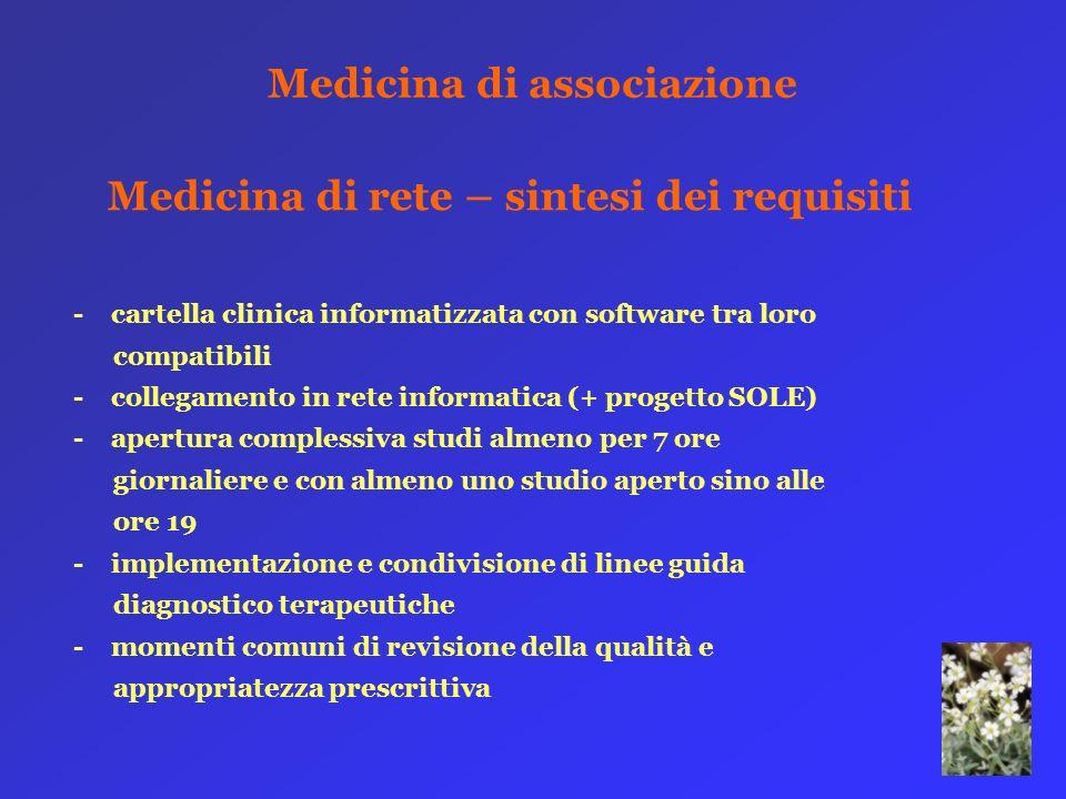 Medicina di associazione Medicina di rete – sintesi dei requisiti - cartella clinica informatizzata con software tra loro compatibili - collegamento i