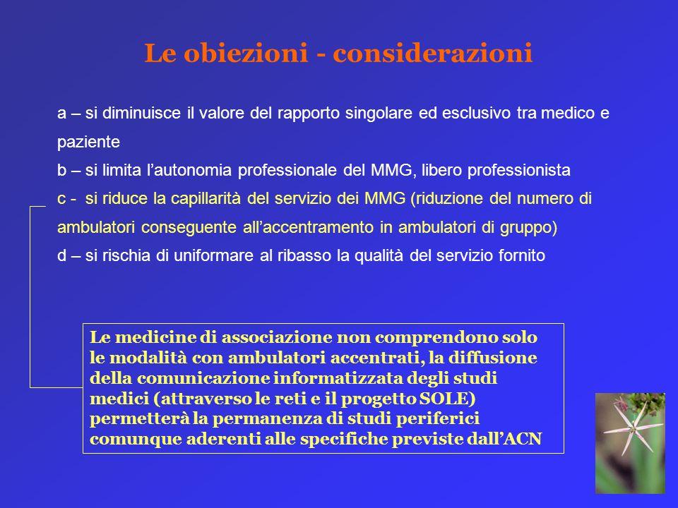 a – si diminuisce il valore del rapporto singolare ed esclusivo tra medico e paziente b – si limita lautonomia professionale del MMG, libero professio