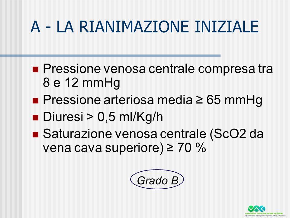 A - LA RIANIMAZIONE INIZIALE Pressione venosa centrale compresa tra 8 e 12 mmHg Pressione arteriosa media 65 mmHg Diuresi > 0,5 ml/Kg/h Saturazione venosa centrale (ScO2 da vena cava superiore) 70 % Grado B