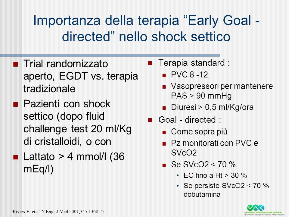 Importanza della terapia Early Goal - directed nello shock settico Trial randomizzato aperto, EGDT vs.