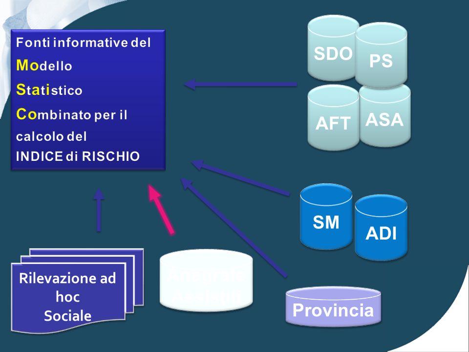 ASA SDO PS AFT ADI SM Rilevazione ad hoc Sociale Rilevazione ad hoc Sociale Provincia Anagrafe Assistiti Anagrafe Assistiti