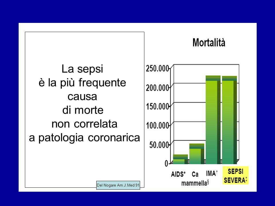 La sepsi è la più frequente causa di morte non correlata a patologia coronarica Del Nogare Am.J.Med 91
