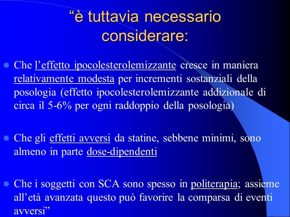 è tuttavia necessario considerare: Che leffetto ipocolesterolemizzante cresce in maniera relativamente modesta per incrementi sostanziali della posolo