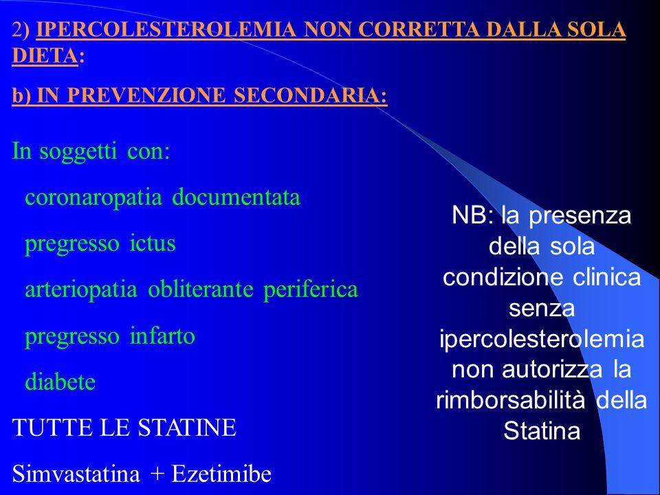 2) IPERCOLESTEROLEMIA NON CORRETTA DALLA SOLA DIETA: b) IN PREVENZIONE SECONDARIA: In soggetti con: coronaropatia documentata pregresso ictus arteriop